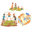 people enjoying summer vacations set happy boys vector image vector image