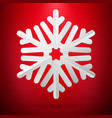 red background with paper snowflake eps 10 vector image