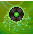 retro vinyl disc on green background vector image vector image