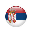 serbia flag on button vector image vector image