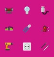 set of 9 editable electric flat icons includes vector image vector image