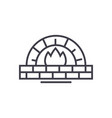 stone oven line icon sign on vector image vector image