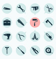 tools icons set with saw multifunctional pocket vector image vector image