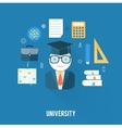 University concept with item icons vector image vector image