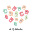 valentines day greeting card design with heart box vector image