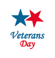 veterans day two stars red and blue color in flat vector image vector image