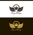 winged crown set vector image vector image