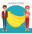 young couple with bananas healthy food vector image vector image