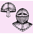 iron helmet and medieval knight vector image