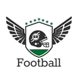 American football retro icon with helmet on shield vector image vector image