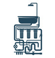bathroom with shower and plumbing system vector image vector image