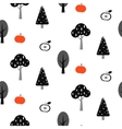 Black tree forest seamless pattern with apples vector image vector image