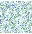 Blue flowers with green leafs vector image vector image