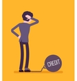 Businessman chained with a giant metall weight vector image vector image