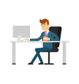businessman with coffee cup working on computer vector image