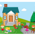 children playing infront of house vector image vector image