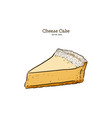 classic cheese cake hand draw sketch vector image vector image