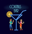 cocktails bar neon women in evening dress vector image