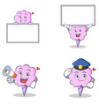 cotton candy character set with board megaphone vector image vector image