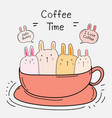 cute bunny in the cup vector image