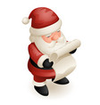 cute isometric 3d christmas santa claus vector image vector image