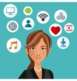 cute woman with social media icon vector image