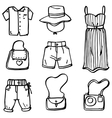 Doodle set of women clothes and accessories vector image