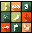 Ecological flat icons vector image