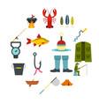fishing tools set flat icons vector image
