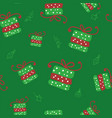 green christmas seamless pattern with vector image