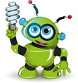 Green Robot and lamp vector image vector image