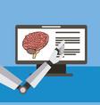 hand robot artificial monitor brain vector image vector image