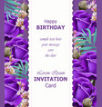 happy birthday violet roses background vector image vector image