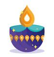 happy diwali festival diya lamp purple and golden vector image vector image