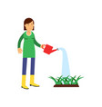 happy farmer cartoon character in yellow rubber vector image