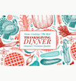 happy thanksgiving day banner hand drawn vector image vector image