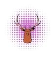 head deer icon comics style vector image