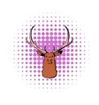 Head of deer icon comics style vector image