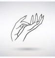 icon female hands cosmetic care vector image