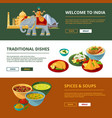 indian cuisine and different traditional elements vector image