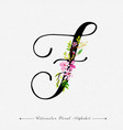 letter f watercolor floral background