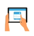 Logging into the account on tablet pc vector image vector image