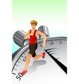 man running around on top stopwatch vector image vector image