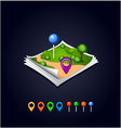 map with GPS icons and sheets paper vector image vector image