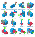 metalwork icons set isometric style vector image vector image