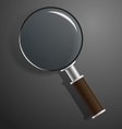 model of magnifier on black vector image