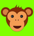 monkey head in cartoon flat style vector image vector image