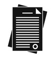 police documents icon simple style vector image vector image