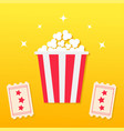 popcorn box two tickets with stars movie cinema vector image vector image
