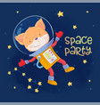 postcard poster cute astronaut fox in space vector image